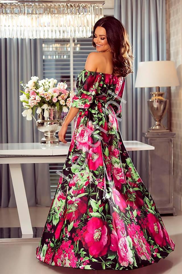 a21397589c Długa sukienka Hiszpanka w różowo fuksjowe kwiaty Klara - Lejdi.pl