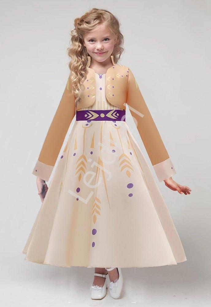 Długa sukienka Kraina Lodu 2, przebranie karnawałowe Anna Frozen - Lejdi