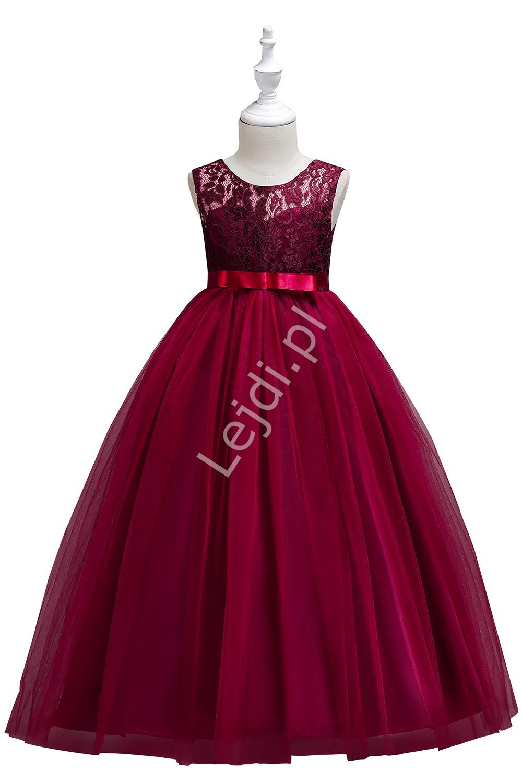 Długa sukienka tiulowa dla dziewczynki w kolorze wina na wesele 006 - Lejdi
