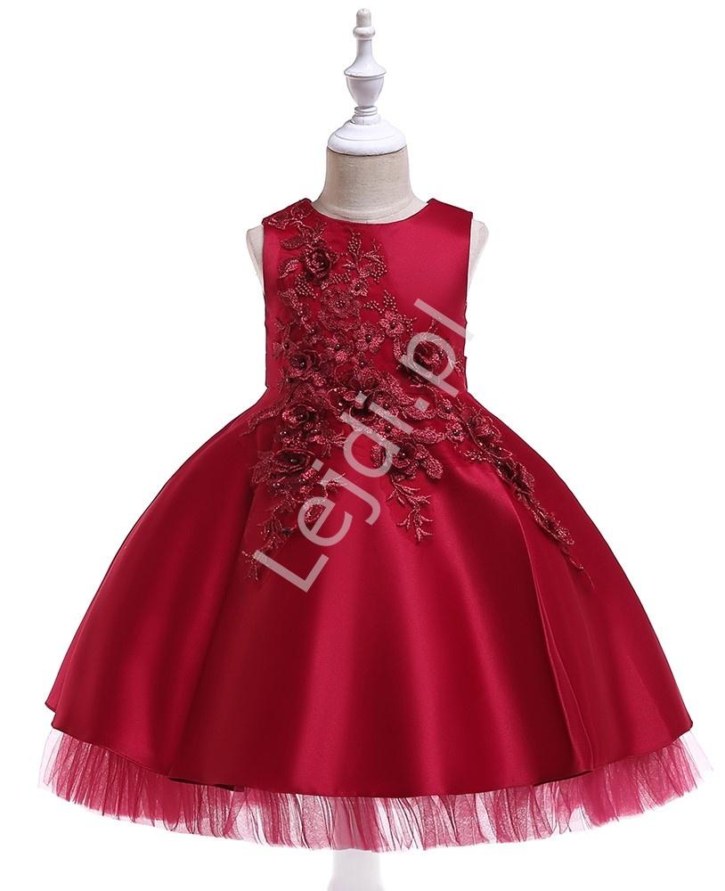 Długa sukienka w w kolorze wina zdobione haftowanymi kwiatami 3D- 5056 - Lejdi