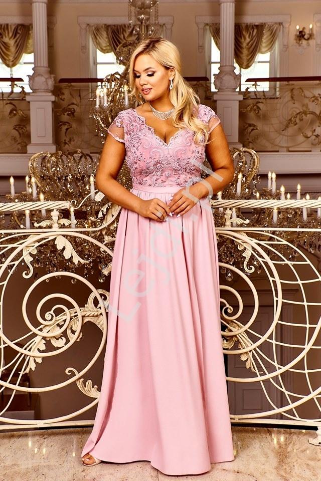 Długa sukienka wieczorowa w kolorze pustynnego różu z rozcięciem ukazujacym nogę Chantell - Lejdi