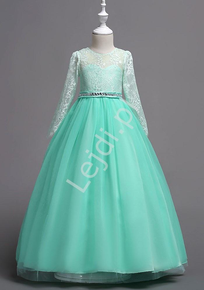 Długa suknia balowa dla dziewczynki w kolorze miętowym 023 - Lejdi