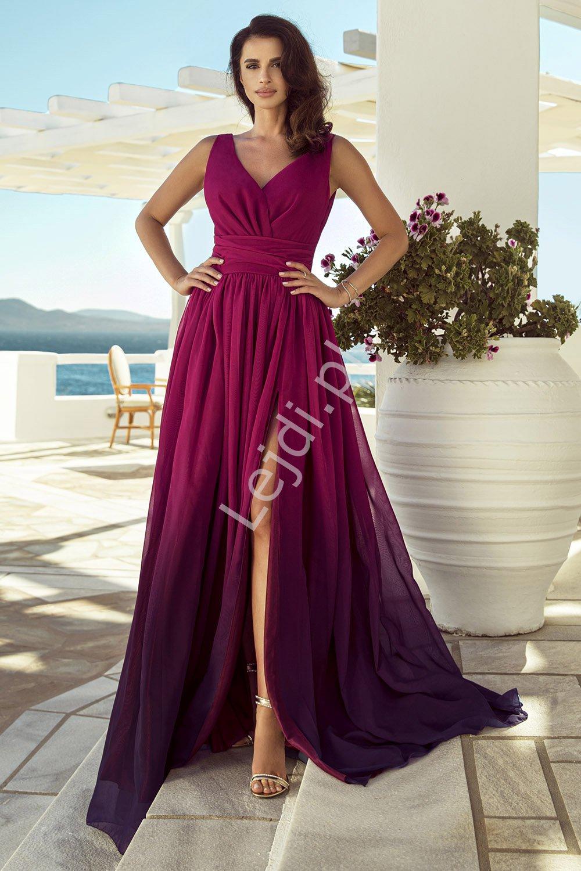 Długa suknia cieniowana w odcieniach amarant, kopertowa rozmiary od 34 do 52, m417 - Lejdi
