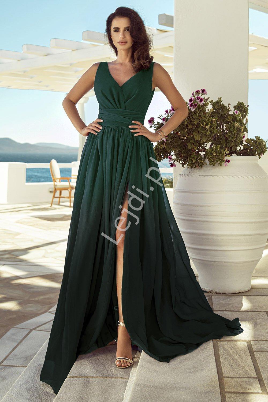 Długa suknia cieniowana w odcieniach ciemnej butelkowej zieleni, kopertowa rozmiary od 34 do 52, m417 - Lejdi