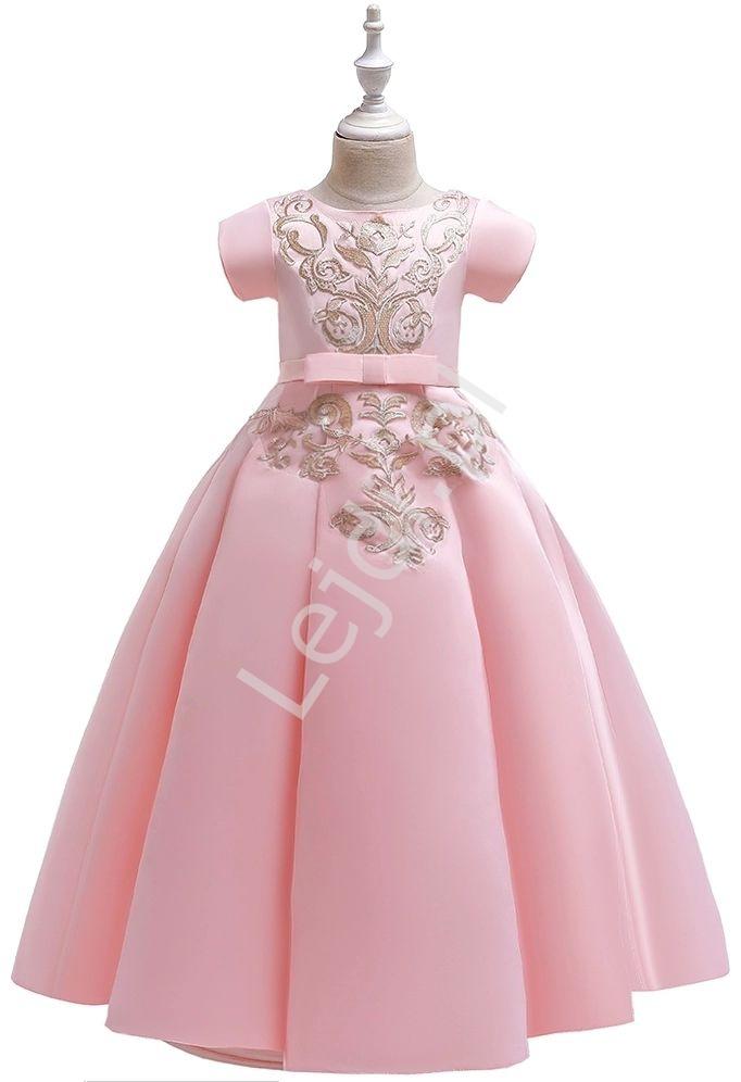 Długa suknia dla dziewczynki z gipiurową aplikacją, jasny róż 202 - Lejdi