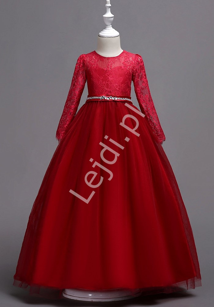 Długa suknia dziecięca w kolorze czerwonego wina 023 - Lejdi
