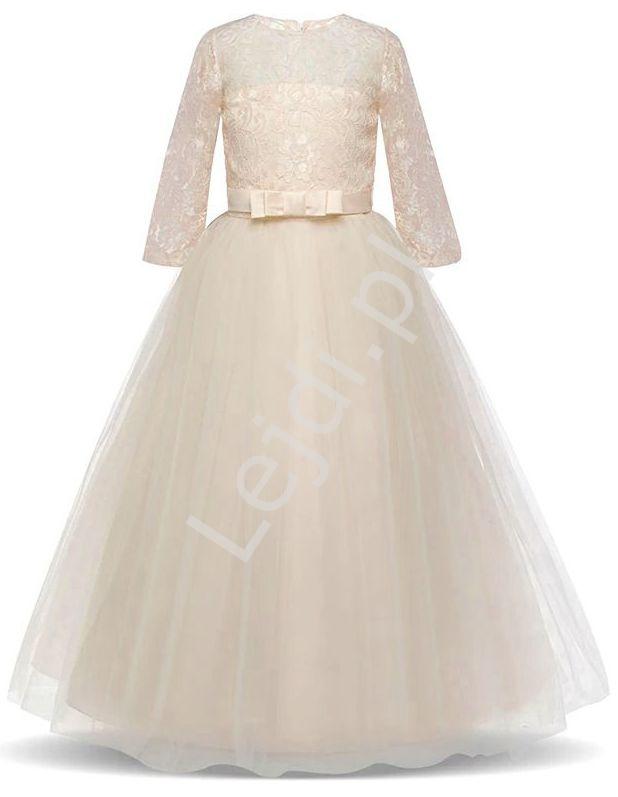 Długa suknia dziecięca w kolorze szampana 022 - Lejdi
