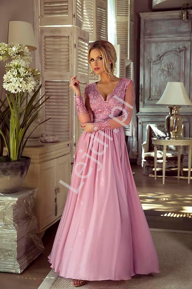 Długa suknia na wesele z delikatnym rękawem - wieczorowa Luna pustynny róż - Lejdi
