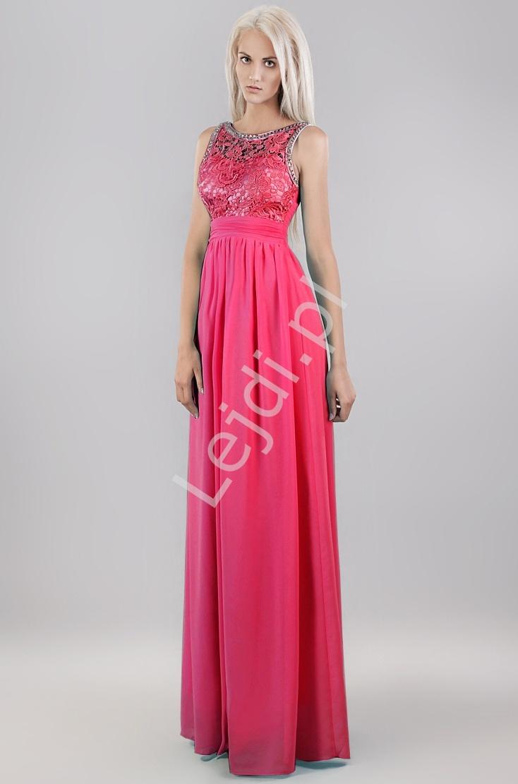 Długa suknia w kolorze fuksji z kryształkami i gipiurową koronką r.36 - r.50 - Lejdi