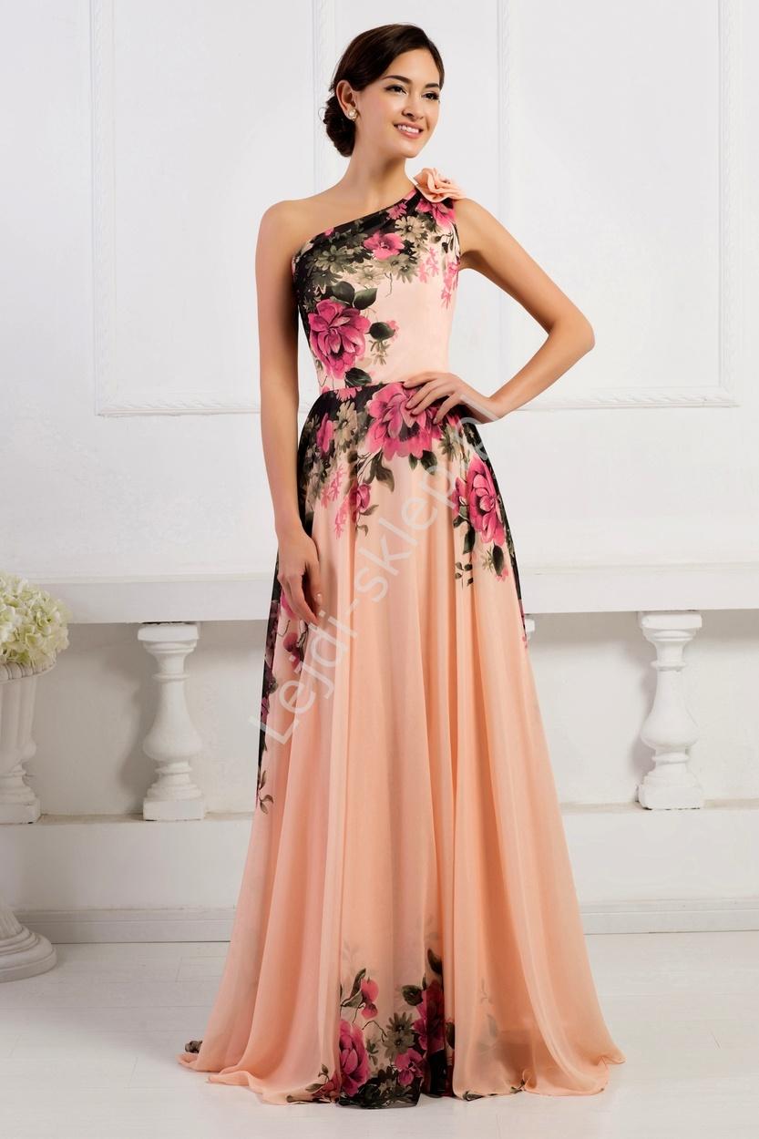 Długa suknia w kwiaty na jedno ramię | suknie wieczorowe na jedno ramie - Lejdi