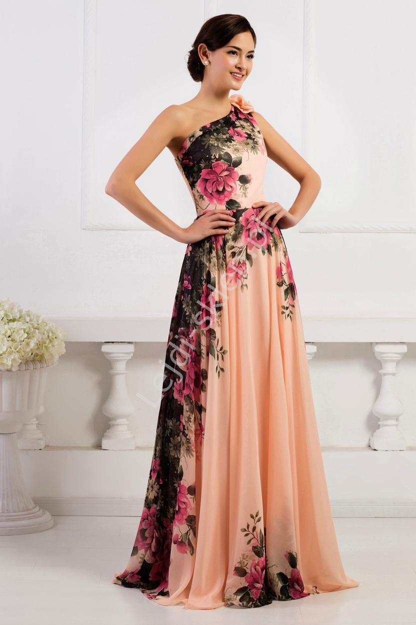 d63ba91530a Długa suknia w kwiaty na jedno ramię - Lejdi.pl