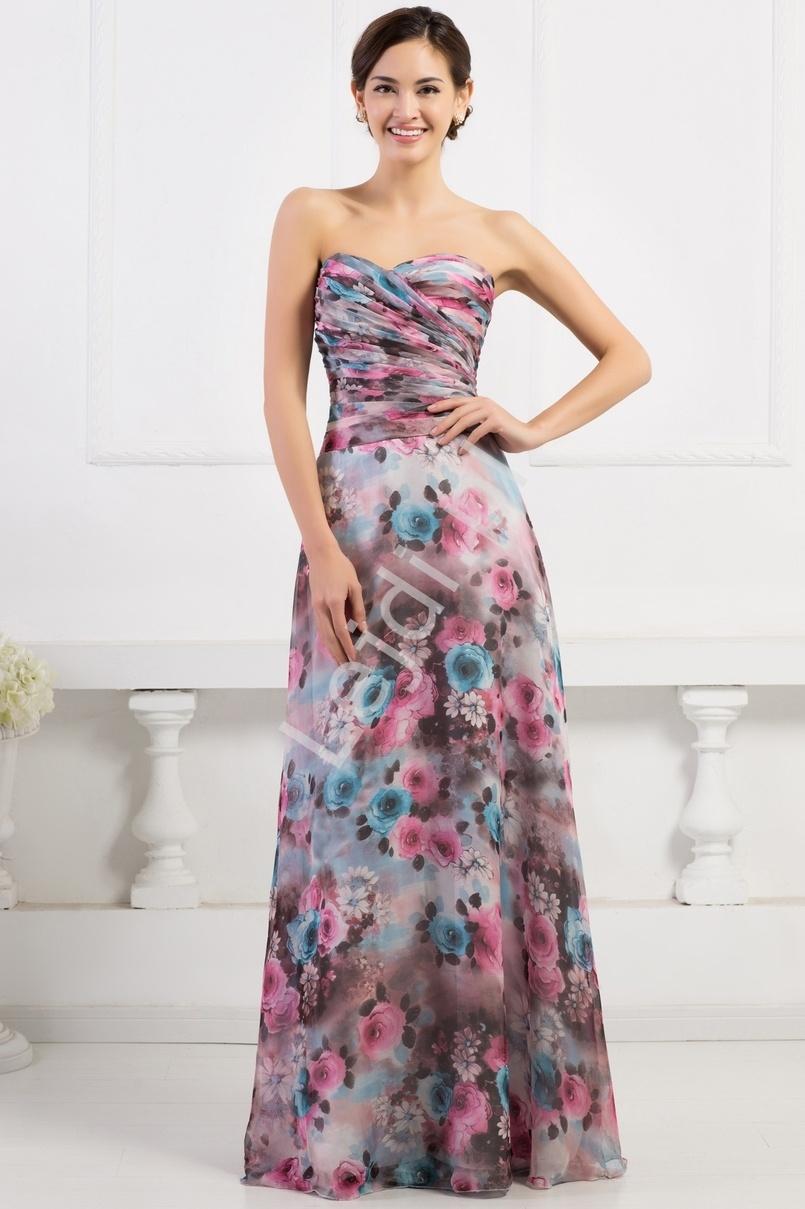 Długa suknia w róże dekolt serduszko na wesele, dla druhen na bal gimnazjalny, na studniówkę - Lejdi