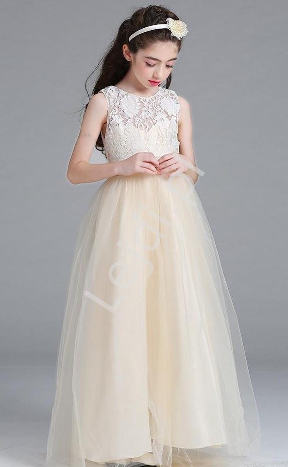 Długa suknia wieczorowa dla dziewczynki, tiulowe - szampańska - Lejdi