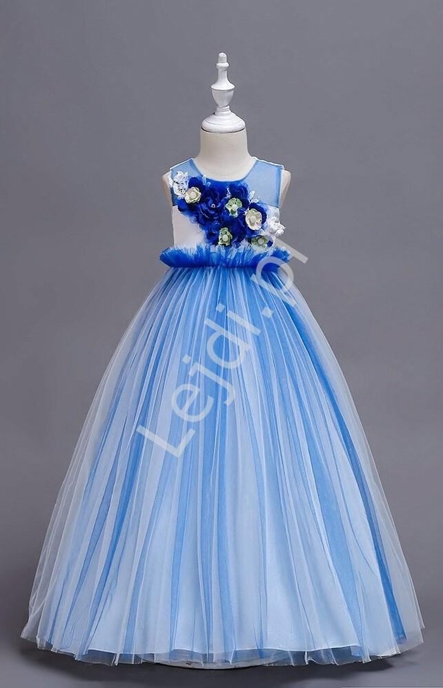Długa suknia wieczorowa dla dziewczynki z kwiatami 3D - 151 - Lejdi