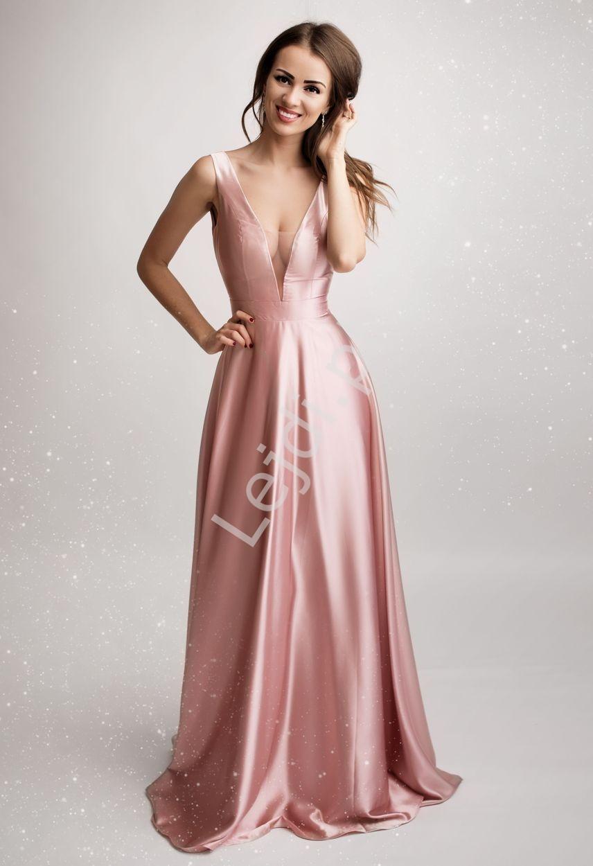 Długa suknia wieczorowa o metalicznym różowym połysku 2180 - Lejdi