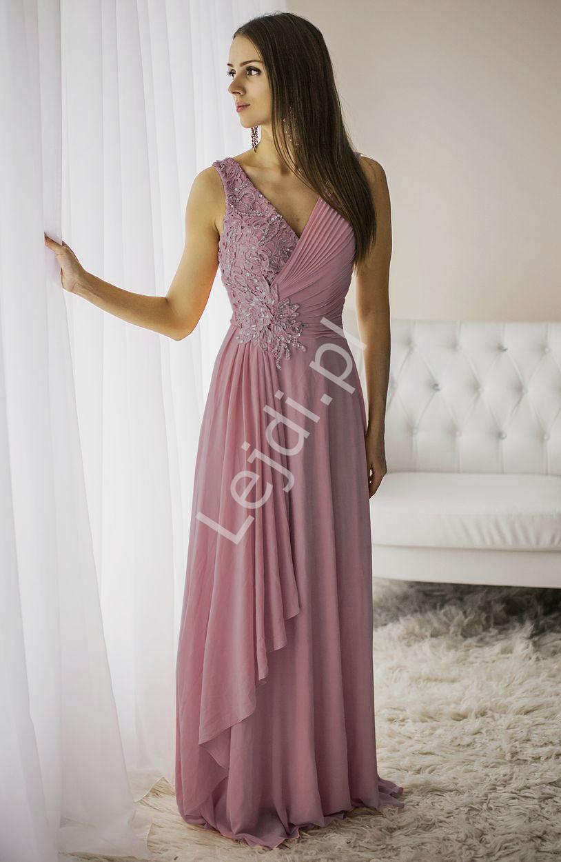 Długa suknia wieczorowa w kolorze brudnego różu z drapowaniem na dekolcie - Lejdi