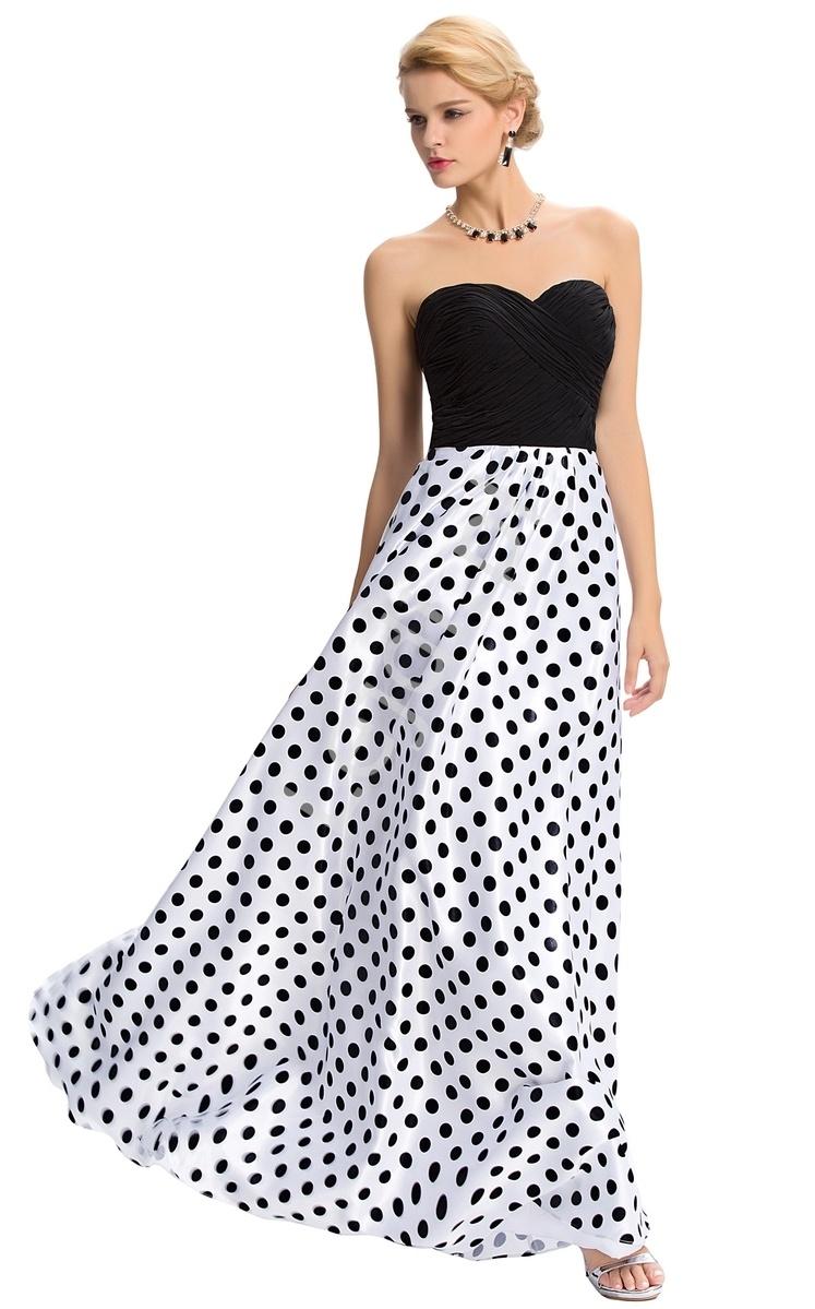 Długa suknia wieczorowa w kropki | wieczorowa sukienka w groszki - Lejdi