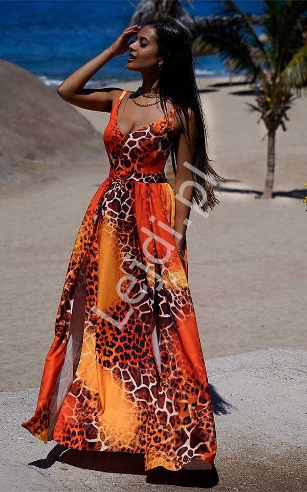 Długa suknia wieczorowa z dwoma rozcięciami na spódnicy, Nina safari - Lejdi