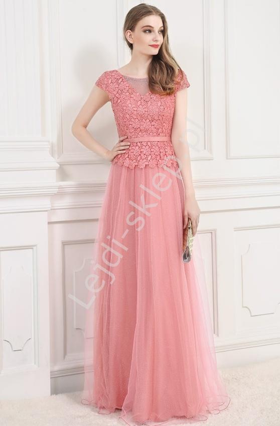 Długa suknia z gipiurowa koronką dla mamy, dla druhen, wieczorowa 9073 - Lejdi