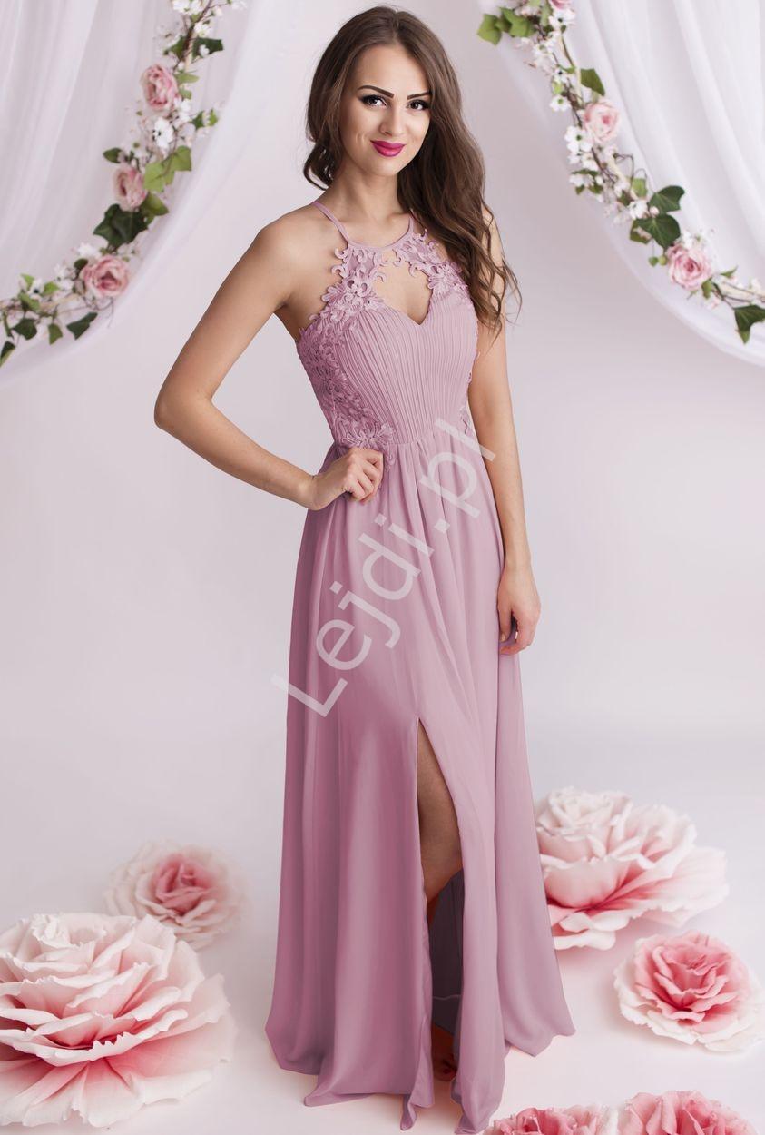 Długa suknia z gipiurowymi kwiatkami w brudny róż |na studniówkę 1305 - Lejdi