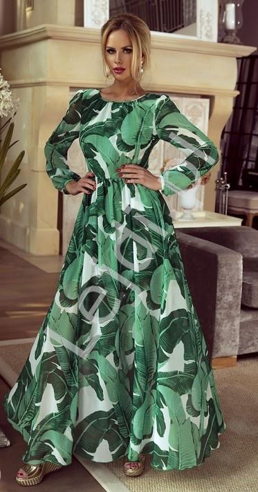 8f9dcd4daa Długa suknia z motywem roślinnym