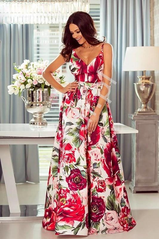 Kwiatowa suknia z odkrytymi plecami, biała w fuksjowo różowe kwiaty - Megi - Lejdi