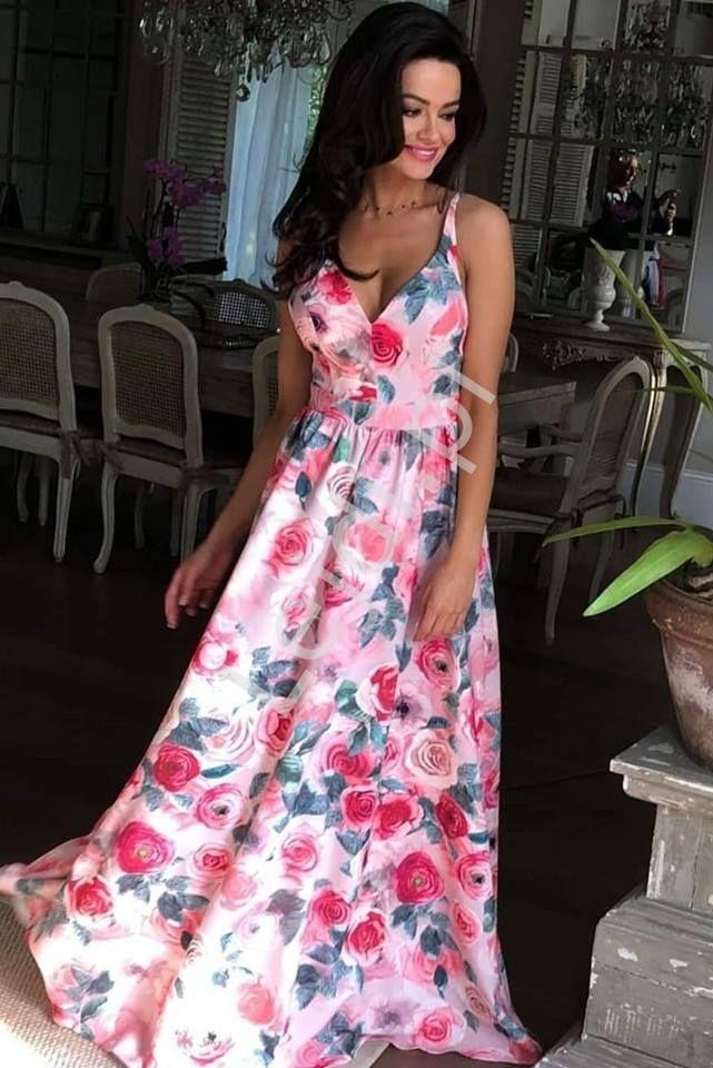 Długa suknia z odkrytymi plecami, jasnoróżowe róże - MEGI EMO - Lejdi