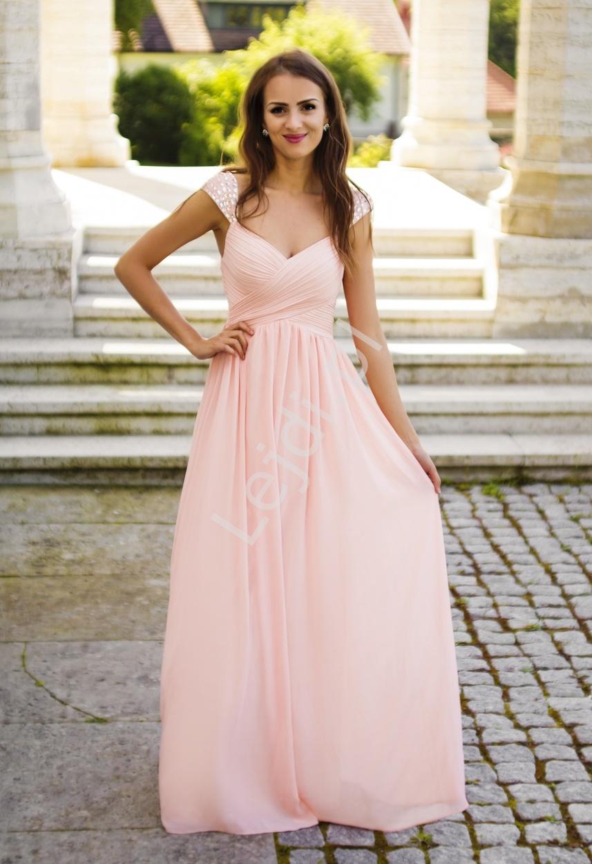 fe81cfd510 Długa suknia z plisowaniem na biuście i kryształkami na ramionach