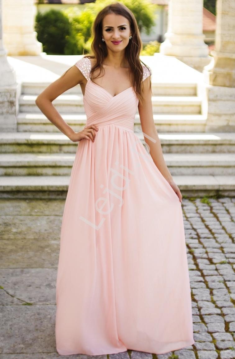 Długa suknia z plisowaniem na biuście i kryształkami na ramionach | suknia w stylu greckim na wesele, bal maturalny - Lejdi