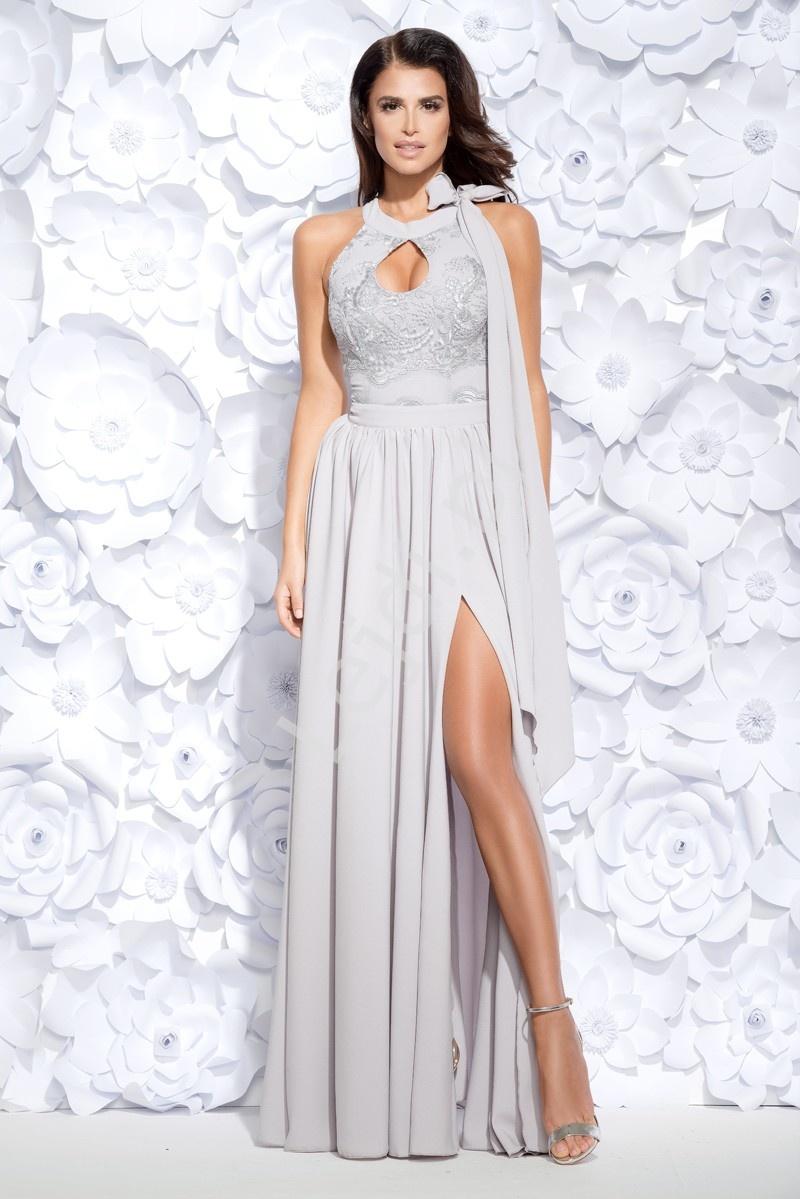 Długa szara wieczorowa suknia z rozcięciem ukazującym nogę i łezką na dekolcie 2124-03 - Lejdi