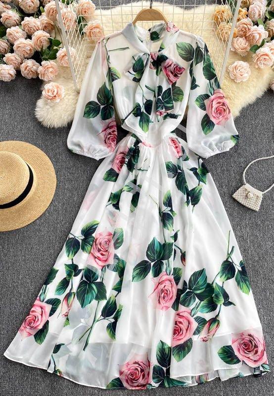 Długa szyfonowa sukienka w kwiaty, róże 1945 - Lejdi