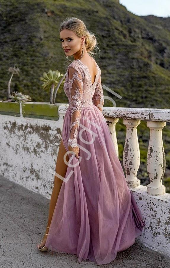 Długa tiulowa sukienka dla druhny, na studniówkę, na wesele, Adel brudny róż - Lejdi