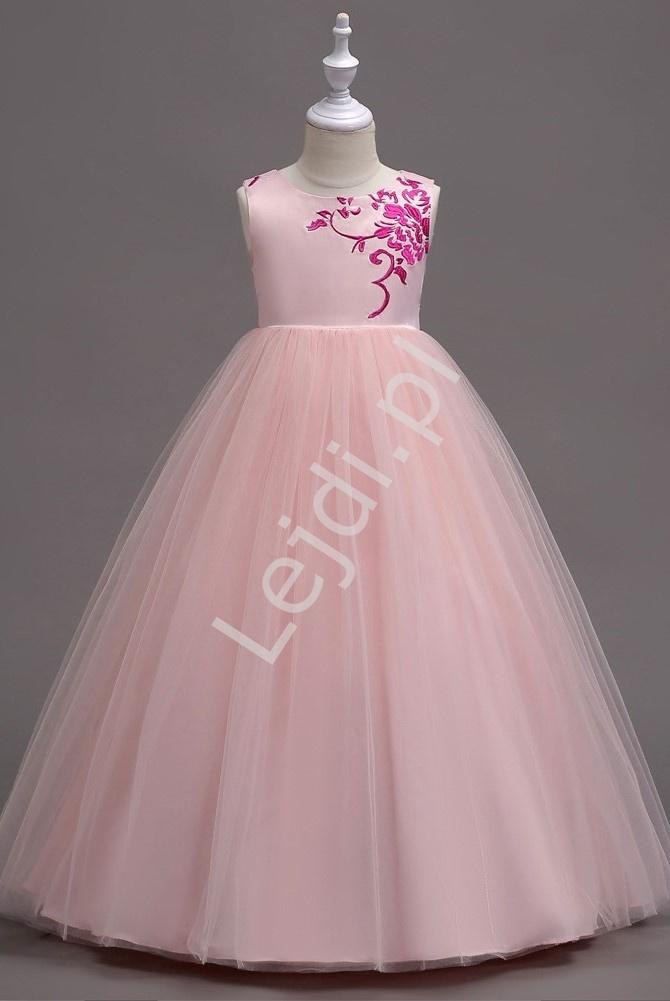 Długa wieczorowa sukienka dla dziewczynki na wesele, bal 819 - Lejdi
