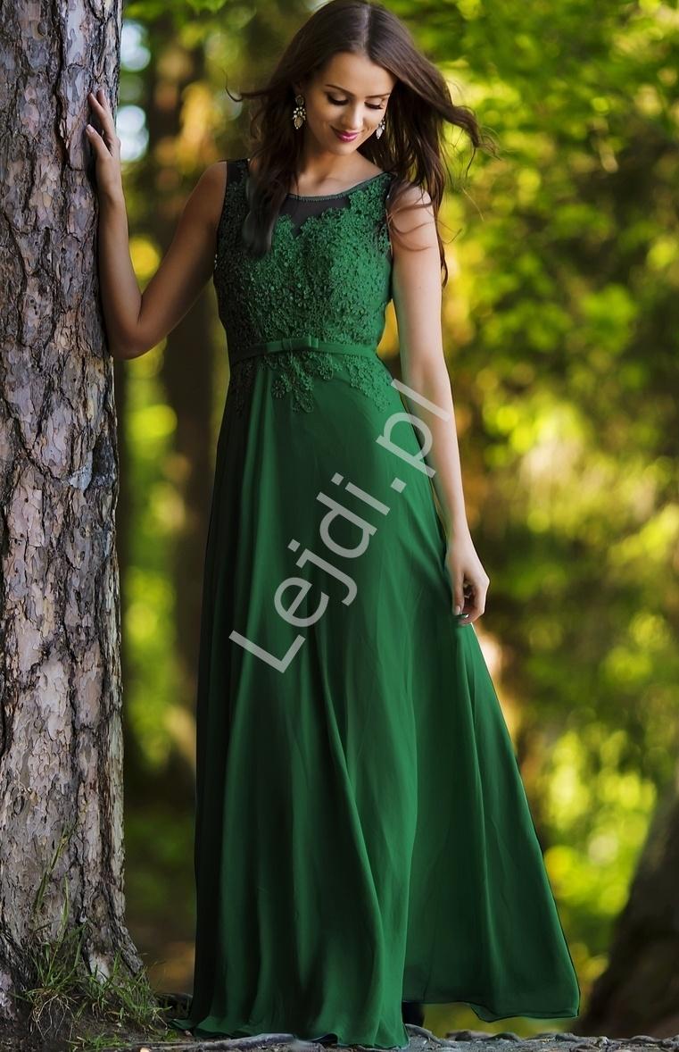 Długa zielona zjawiskowa suknia z koralikami i cekinami | długa suknia Plus Size - Lejdi