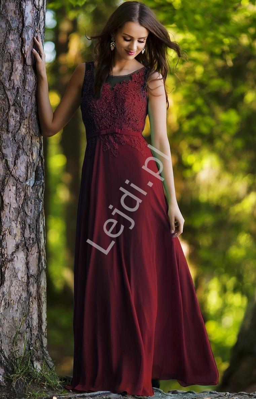 Długa zjawiskowa suknia z koralikami i cekinami w kolorze bordowym | długa suknia r. 36 - Plus Size - Lejdi