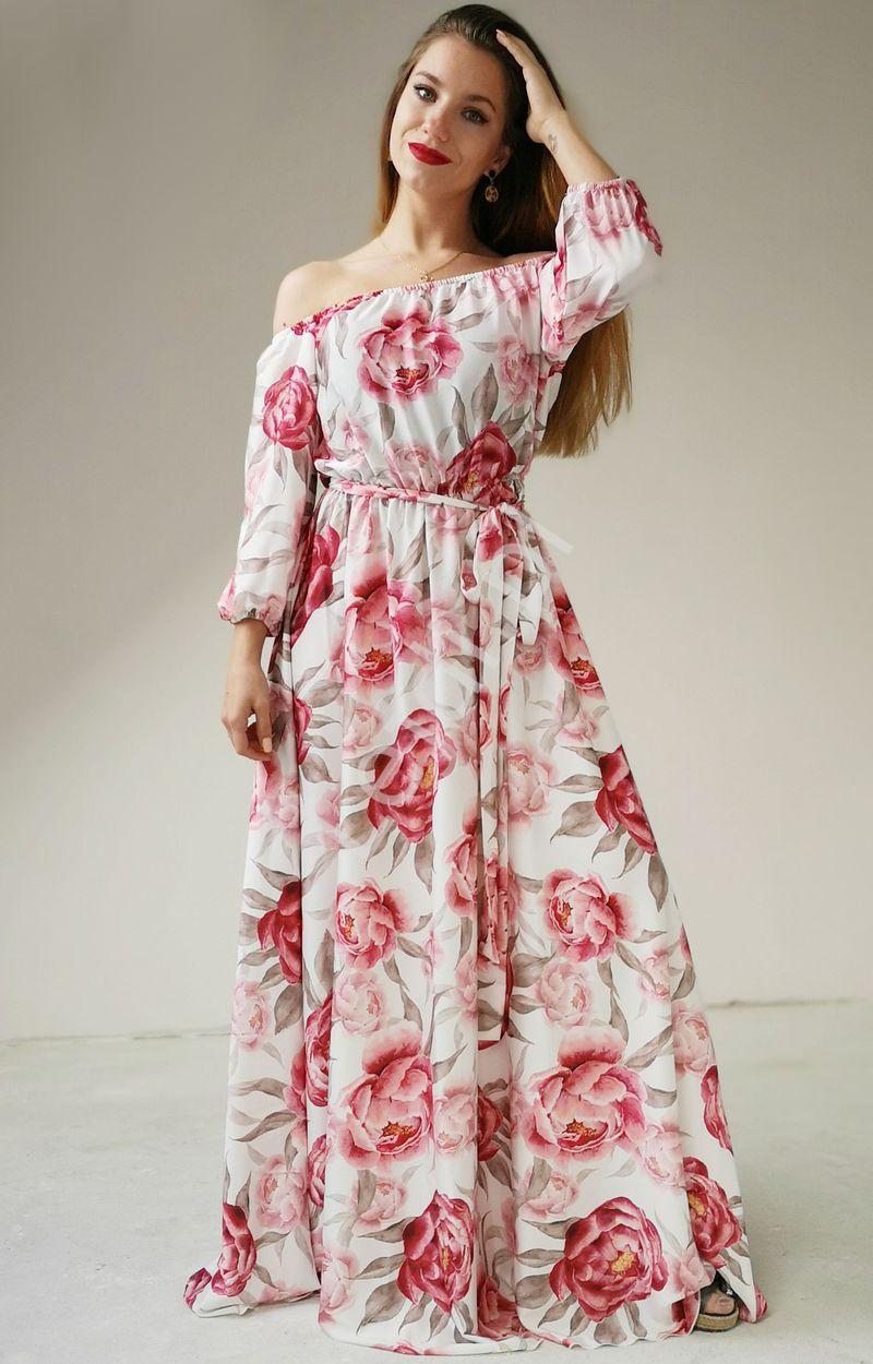 Długa zwiewna sukienka Hiszpanka, biała w piwonie, Klara - Lejdi
