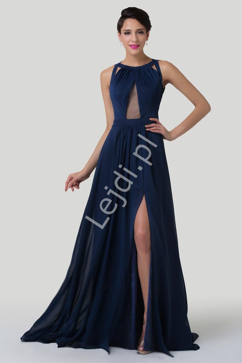 Długa zwiewna szyfonowa suknia z odkrytymi plecami i trenem | sukienki wieczorowe - Lejdi