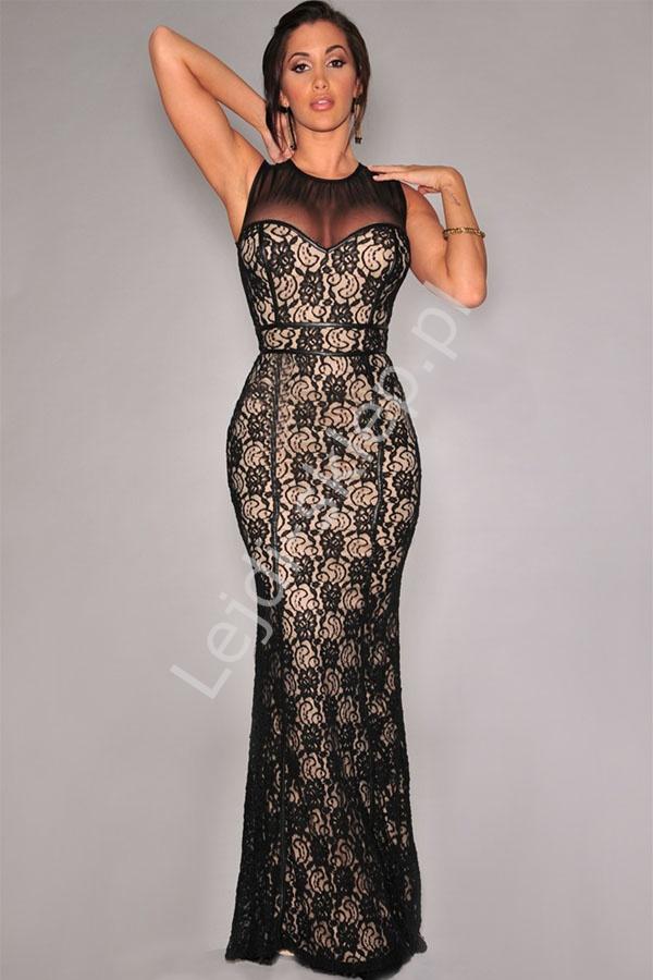 Długa czarna koronkowa sukienka z lamówkami - Lejdi