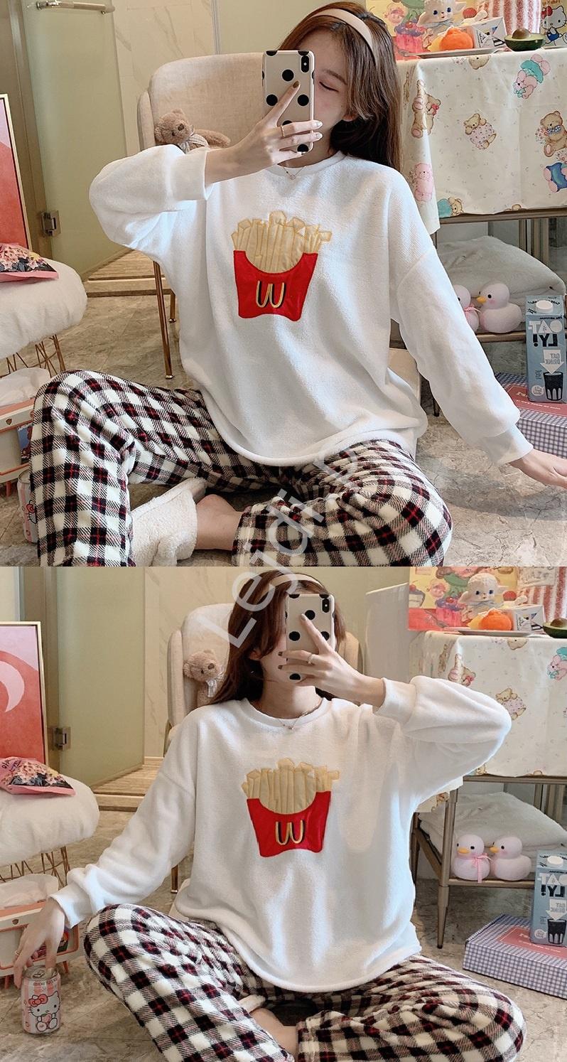 Domowy dres lub ciepła piżama z frytkami, spodnie w krate - Lejdi
