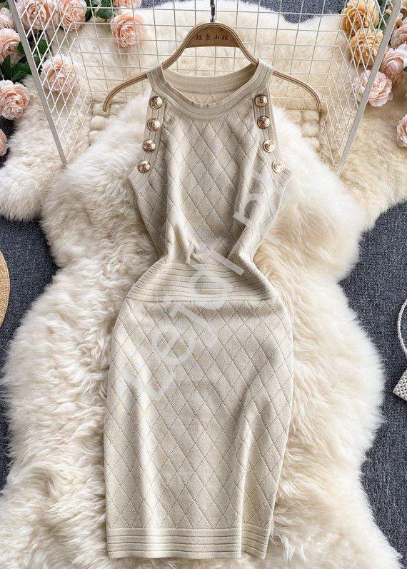 Dopasowana sukienka ołówkowa zdobiona guzikami, beżowa brzoskwinia 4135 - Lejdi