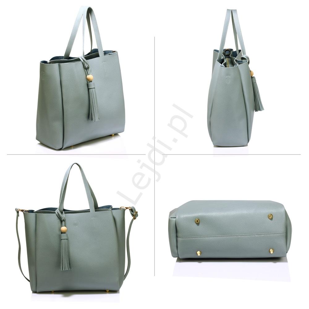 24e0411007890 Duża popielata torebka typu shopper o delikatnej strukturze z zawieszką  chwostem