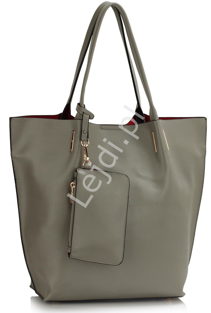 Duża torebka typu bag shop - torebka shopper szara
