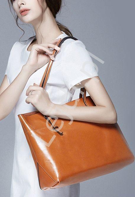 Duża torebka typu shopper | brązowa torebka bag shop