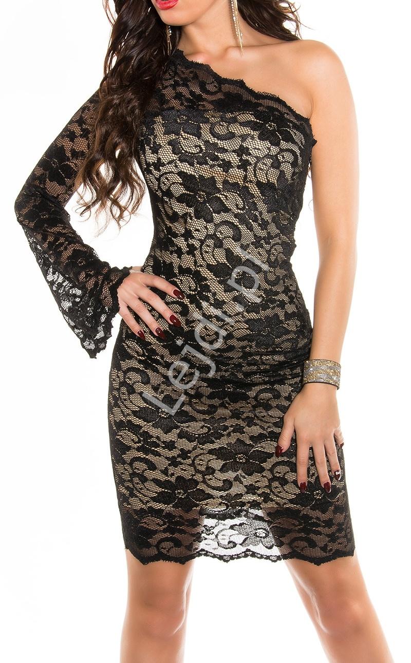 Dwukolorowa zmyslowa sukienka na jedno ramię z koronki, 361-5 | sukienki wizytowe na jedno ramię - Lejdi