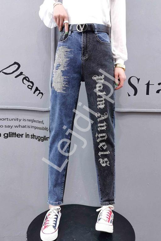 Dwukolorowe jeansy damskie Palm Angels z kryształkami - Lejdi