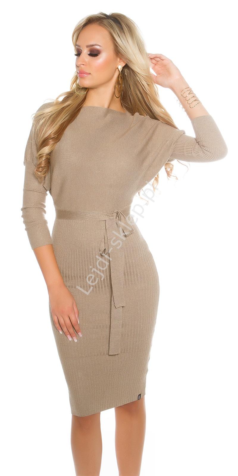 393bdc5cdd Dzianinowa beżowa elegancka sukienka midi z paskiem 8959 - Lejdi.pl