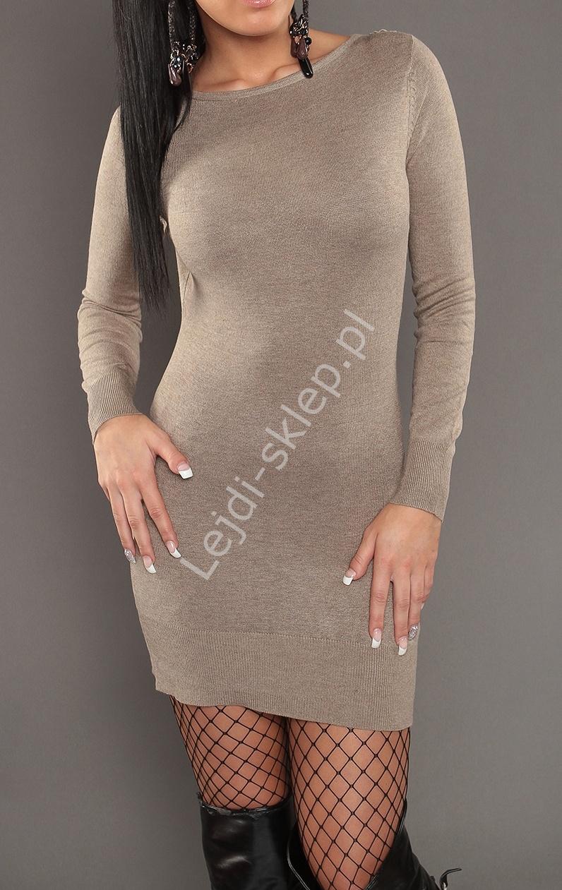 Dzianinowa beżowa sukienka z tiulowymi plecami i koronką S901 - Lejdi