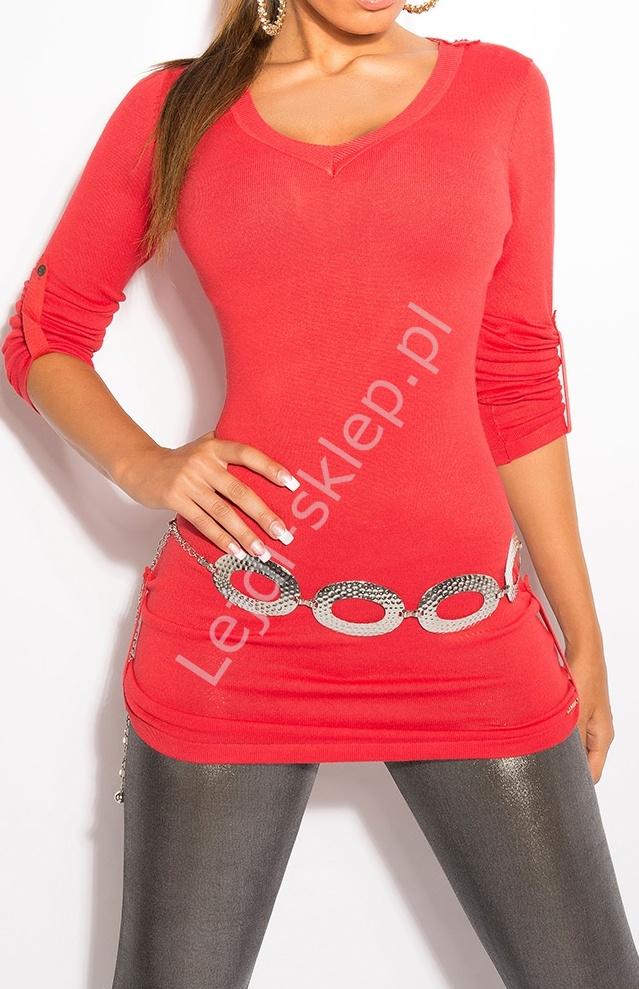 Dzianinowa koralowa bluzka / sweter z podwijanymi rękawkami, 8011 - Lejdi