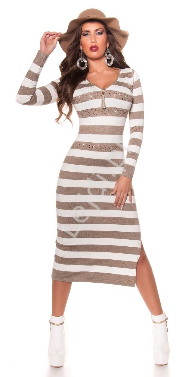 Dzianinowa sukienka w beżowo białe paski długość 3/4, zdobiona kryształkami 8719-5 - Lejdi