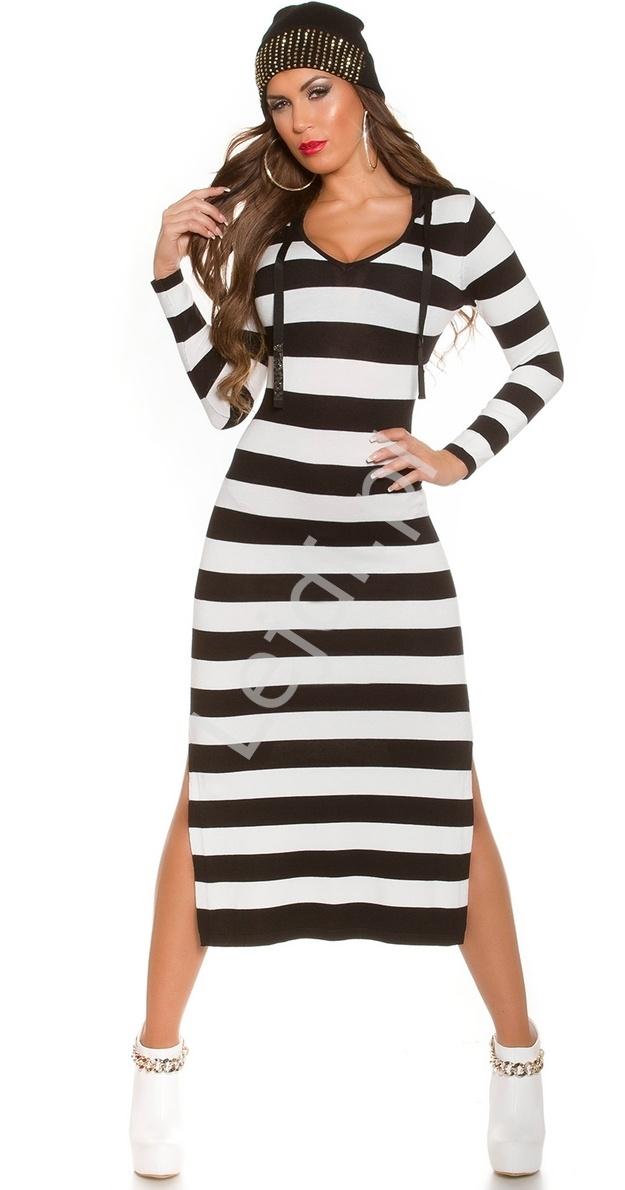 Dzianinowa sukienka w paski, sukienka z kapturem 8723 -1 - Lejdi